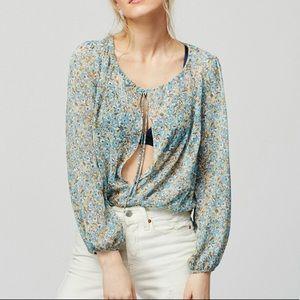 Anthropologie Tops - Free People Sheer Floral Boho Bodysuit Blouse Top